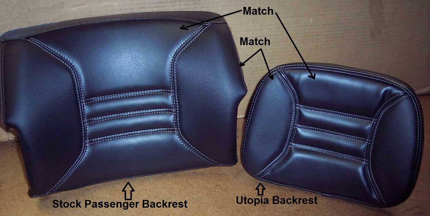 The left backrest in above picture is the stock passenger backrest taken off spyder rt to show you how our delux cover is sewn with
